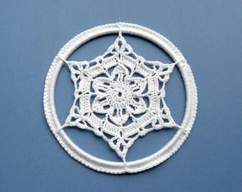 Crochet Christmas Ornament -- Large Framed Snowflake