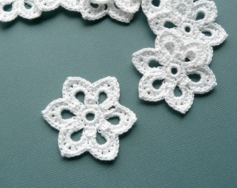 3 Crochet Flower Appliques -- 2 inch Diameter, in White