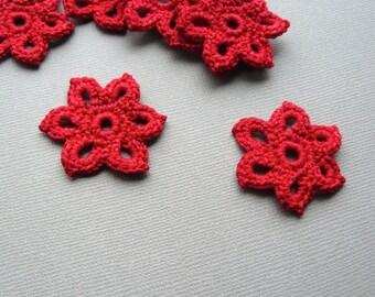 10 Crochet Applique Flowers -- 1-3/8 inch Diameter, in Bright Red