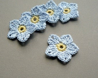 5 Crochet Flower Appliques -- 1-1/2 inch Flax Flowers, in Pale Cornflower Blue