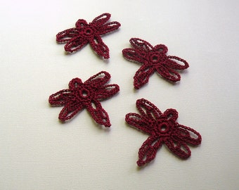 4 Crochet Dragonfly Appliques -- Victorian Red