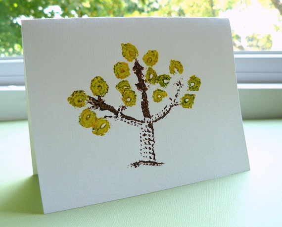 6 Tree Note Cards -- Crochet Imprinted, in Autumn Gold