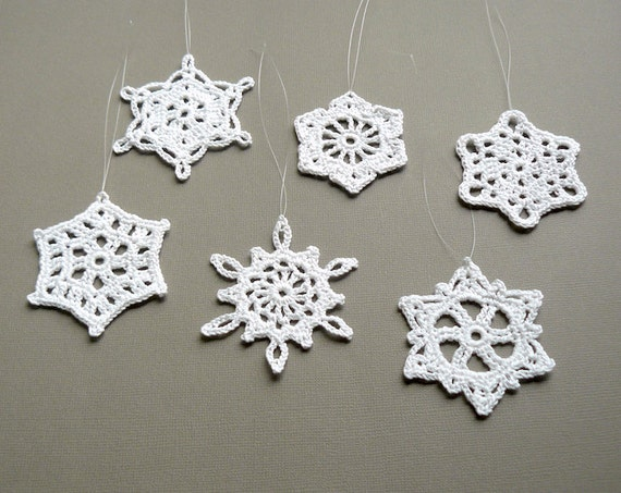 Christmas Crochet -- 6 Small Snowflake Ornaments -- Assortment G11, in White