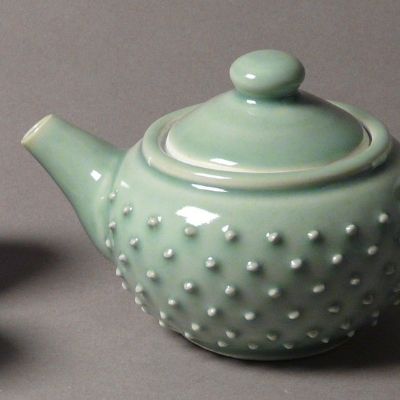 Hobnail teapot set with four matching cups in celadon- RESERVED FOR NT