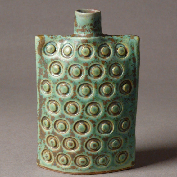 Stoneware oval flask bottle vase in blue-green embossed dots