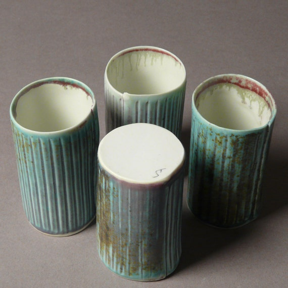 Four Porcelain Cups - Ribbed Thimble Juice or Wine Set