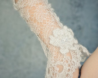 wedding arm warmers fingerless gloves silk mohair silver lace