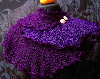 handknitted shawl purple