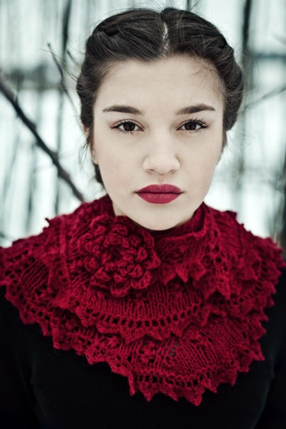 knit scarf, victorian scarf lace, knitted victorian shawl, handmade knitted steampunk shawl cherry red wedding stole bridal shawl dark red