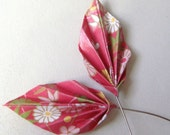 Origami Leaf Head Pins -  (1 pair) Japanese, Reddish Pink Floral