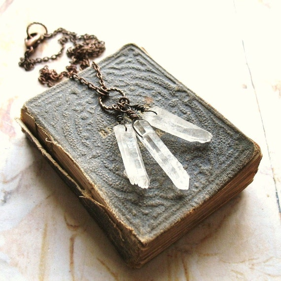 Icicles - Organic Natural Rock Crystal Quartz and Copper Handmade Necklace