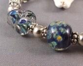 Dark Blue Lampwork and Silver Bracelet