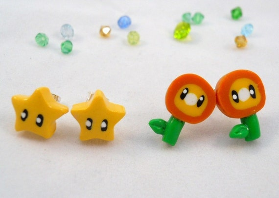 SALE Mario Bros. Inspired Earring Set - Fire Flowers and Stars - Polymer Clay Studs