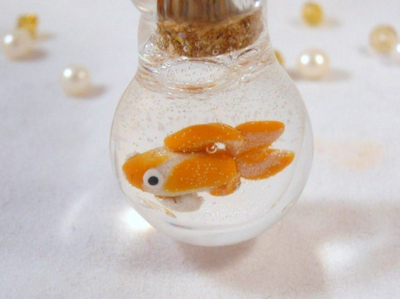 Tiny Goldfish In A Bowl - Necklace or Keychain - Lampwork Glass and Polymer Clay