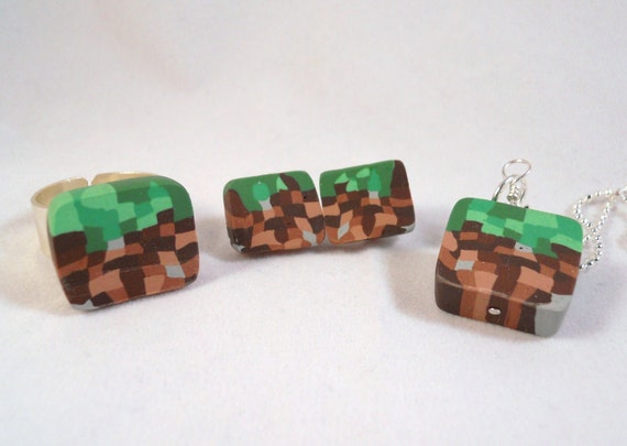 Minecraft inspired dirt blocks. Earrings, ring, necklace, or keychain.