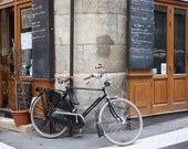 Paris Photography, la bicyclette, Paris, France, Paris Cafe on Ile de la Cite, brown paris wall art, paris decor, paris bike photo