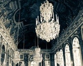Hall of Mirrors, Paris Photography, Versailles, France, Chandelier Photograph, deep blue, paris home decor, nursery decor, blue wall art