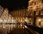 Midnight in Paris, Paris Photography - The Louvre at Night in Paris, Travel, Paris Night Photo, Louvre at Night, Paris Decor, Paris Print