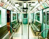 New York City Subway in Mint Green 20x24 Rolled Canvas - affordable home decor - Custom Listing for Emma
