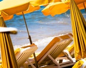 Beach Photography, The beach in Cannes, France, Freesia Yellow, French Riviera , canary yellow umbrella, Summer in France