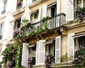 Paris Photography, Summer in Paris, Purple flowing flowers, White Shutters, Paris Photo - Paris Decor - Purple