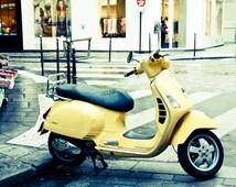 Paris Photography, yellow vespa on the streets of Paris, Marais in Paris, yellow wall art, paris print, Paris in the Rain