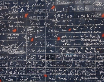 Valentines Day, Montmartre love wall, Je t'aime, Wedding Gift, Paris Photography, I love you from around the world, anniversary, navy blue,