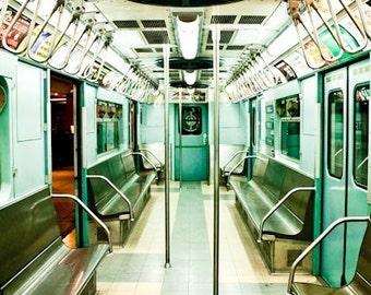 Mint Green New York City Subway Photography - NYC Subway Fine Art Photograph - new york city wall art - subway art - train photography