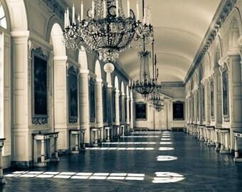 Paris Photography, Chandelier in Versailles, Parisian Architecture, Dining Room Art, Paris Print, Blue toned, Babys room, Marie Antoinette