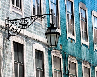 Travel Photography, Colors of Lisbon, Portugal, Fine Art Photograph, mint green, cool blue, mosaic tiles, Portugal Architecture
