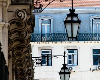 Portugal Photography, Architecture, Colors of Lisbon, sky blue, iron lanterns, summer in portugal, lisbon, sky blue