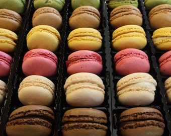 Kitchen Wall Art, Paris French Macarons for Sale, French Kitchen Art, Paris Photography, Food Photo, Pink and Green