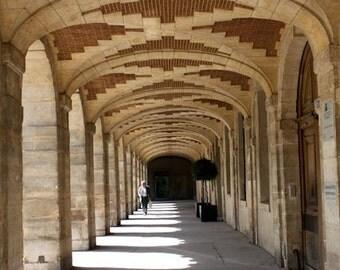 Paris Photography - Walking in Place des Vosges,Paris, France, Paris Architecture, Marais in Paris, Archway in Paris, Red Brick, Paris Prin