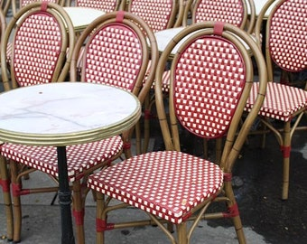 Paris Photography - Ruby Red Paris cafe chairs in red and white - Paris Red Wall Art, Paris Decor, Cafe in Paris Photo