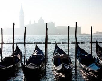 Venice Photography, Morning Gondola ride in Venice, Italy,  Italian Decor - Venice Art - Blue Gondola - city - photograph
