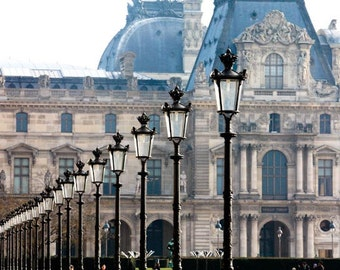 Paris Photography, Early Morning Light in the city of Paris, France, Louvre, Black Iron Lanterns, Paris wall art, Paris Architecture
