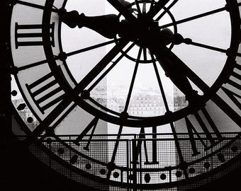 Paris Photography, A moment in Paris, black and white photography, Living Room Art, Clock at the Musee D'Orsay, black and white