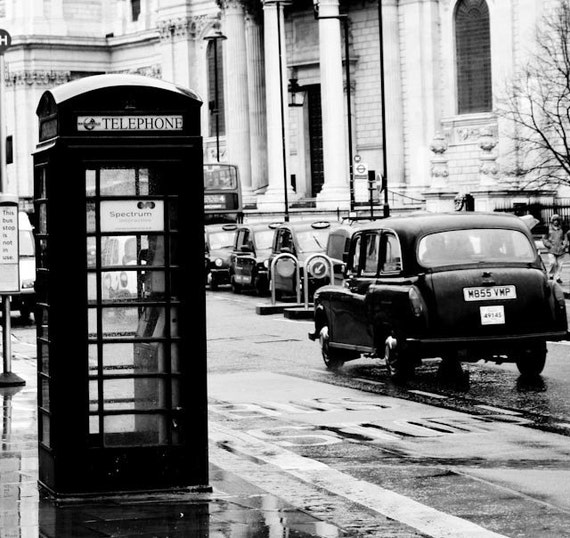 London Photography, On the streets of London,England, black london taxi cab, Black and White Photography, London Wall Art, Black Phone Booth