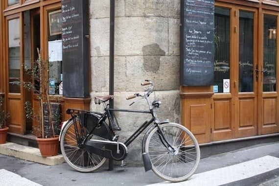 Paris Photography, la bicyclette, Paris, France, Paris Cafe on Ile de la Cite, brown paris wall art, paris decor, paris bike photo