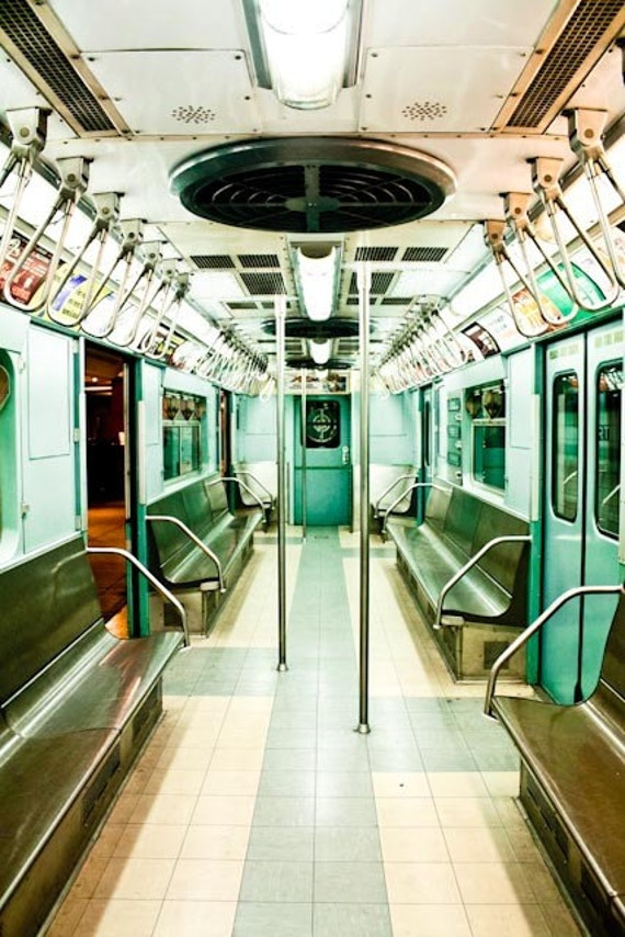 Mint Green New York City Subway Photography - NYC Subway Fine Art Photograph - new york city wall art - subway art - train photography