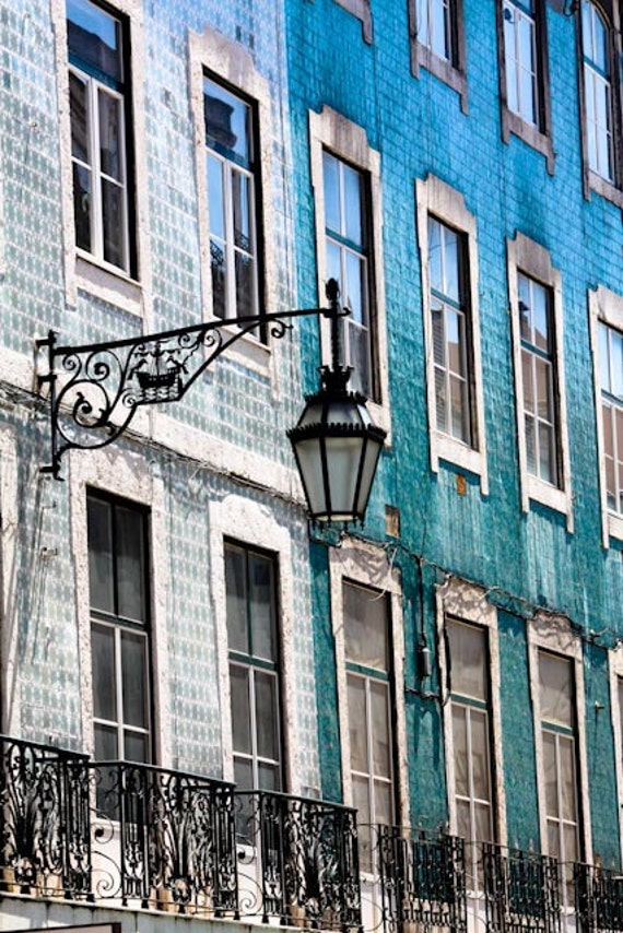 Travel Photography, Colors of Lisbon, Portugal, Fine Art Photograph, mint green, cool blue, mosaic tiles, Portugal Architecture
