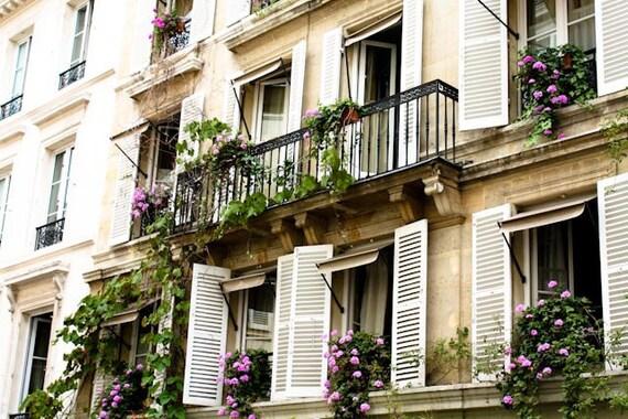 Paris Photography, Summer in Paris, Purple flowing flowers, White Shutters, Paris Photo - Paris Decor - Purple