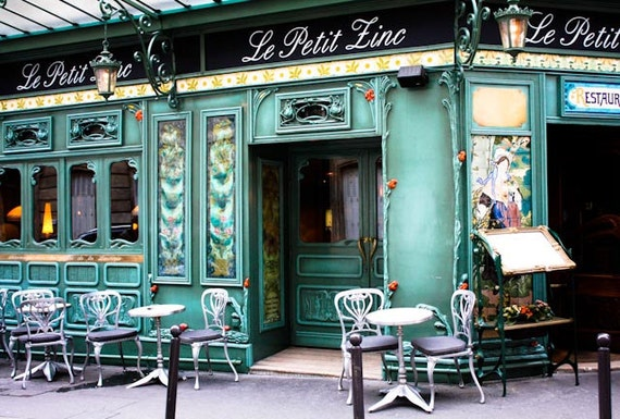 Ready to ship, le petit zinc, St Germain des Pres, Paris Photography, Paris cafe in green, Restaurant in Paris, Paris Home Decor