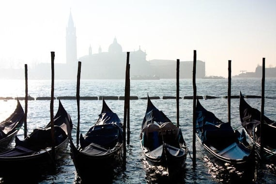 Venice Photography, Morning Gondola ride in Venice, Italy,  Italian Decor - Venice Art - Blue Gondola - city - photograph