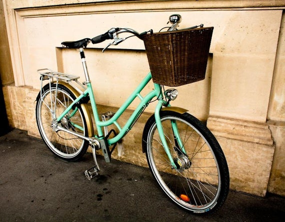 Paris Photography - Summer in France Parisian mint green Bike, Parisian bike, affordable home decor - France