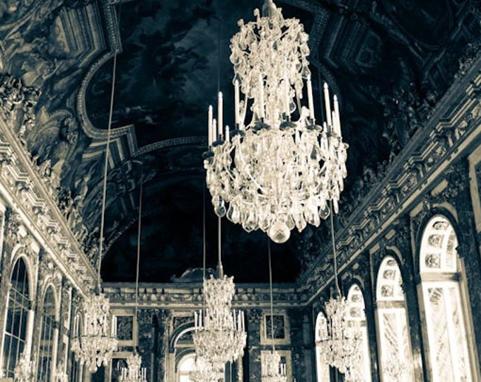 Best Seller, Paris Photography, Chandeliers in the Hall of Mirrors, Versailles, France, paris wall art, deep blue, french home decor
