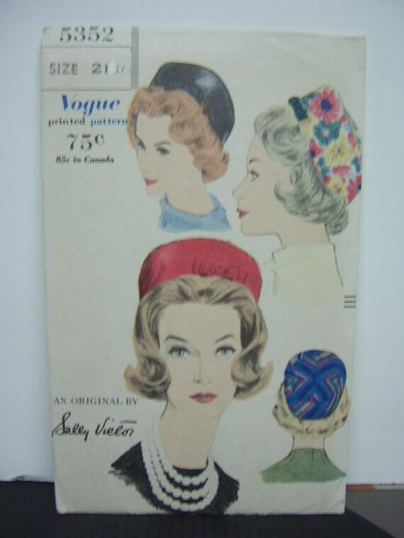 1960's Vogue Sally Victor Hat Pattern 5352