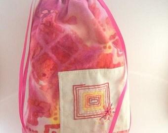 Spiral Block Keepsake Drawstring Bag - Handmade, Freeand Embroidered -Fully Lined Travel Tote, Tarot, Wedding Bridal Purse, Free US Shipping