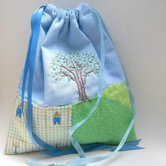 Home Tree Keepsake Drawstring Bag - for Travel, Tarot, iPod - Hand Embroidered, Handmade OOAK - Tote, Purse, Carryall, Free US Shipping