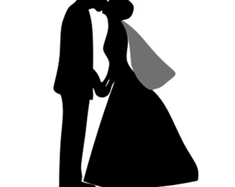 Custom Silhouette Portrait - Digital Wedding SIlhouette Portrait - Wedding Couple -
